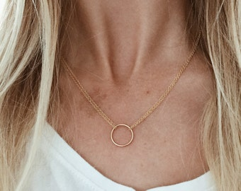 Double Chain Karma Infinity Circle Necklace in 14/20 Gold Fill or Sterling Silver
