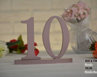 Metallic Rose Gold 1-20 DIY,  Wood Table numbers, Table Number, Rose Gold Centerpieces, Wedding Reception Table