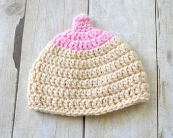 Breastfeeding - Boob Beanie - Boob Hat - Photo Prop - Baby Shower Gift - Baby Boob Hat - Newborn Boob Hat - Breast Hat