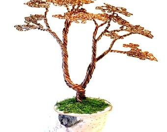 Tall Copper Wire Bonsai Tree