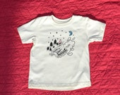Bear Sledding Toddler Tee: certified organic with screenprint, embroidery and appliqué