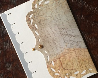 Old World Traveler/Set of 6/ Specialty Handmade Stationary/Personal Stationary/Vintage Greeting Card/Map Note Cards