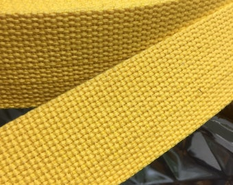 Yellow Cotton Webbing, 4 cm -1.6 in Wide Cotton Webbing, Yellow Belt Tape, Yellow Strap