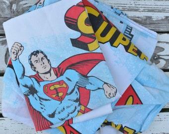 70s Superman Man of Steel Twin Sheet Set Flat Sheet Fitted Sheet Pillowcase Superhero DC Comics Justice League