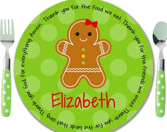 Personalized Melamine Plate - Personalized Kids Plate - Personalized Christmas Plate - Kids Holiday Plate - Gingerbread Girl / Boy / House