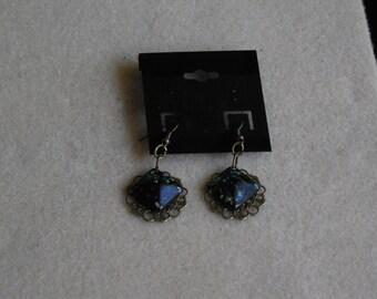 Enamel and Metal Filigree Earrings