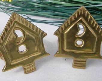 Vintage Napkin Rings, Brass Birdhouse Napkin Rings, Set of 4 Brass Napkin Holders,  Brass Table Decor