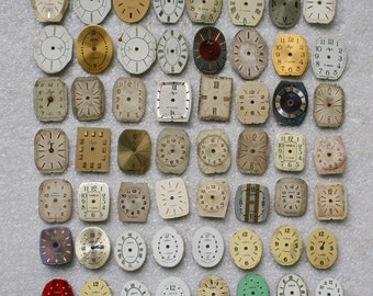 Set of 56 Vintage Soviet  Watch Faces , steampunk , steampunk parts