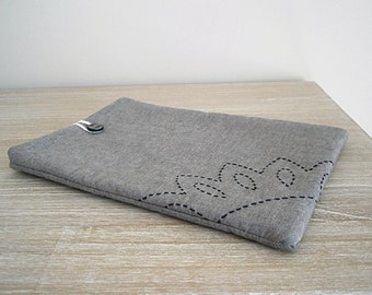 embroidered ipad sleeve - tablet cover - padded tablet case - extra soft ereader kindle pouch embroidered gift for her ooak tablet accessory