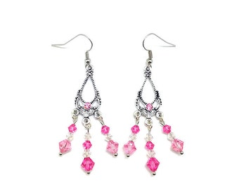 Pink Chandelier Earrings, Pink Earrings, Pink Dangle Earrings, Light Pink Earrings, Pale Pink Earrings, Pink Drop Earrings, Dainty Earrings
