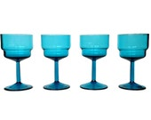 Turquoise Crystal Wine Glasses, Stepped Blue Cocktail Glasses, Set of Four