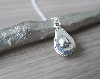 Sterling Silver Avocado Necklace, Avocado, Avocado Jewelry, Guacamole, Avocado Gift, Vegetable Jewelry, Vegetable Necklace