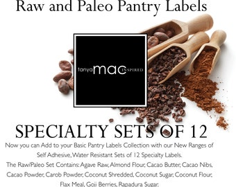 12 Set of RAW/PALEO Pantry Label Collection - Vintage