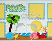 Scrapbook Page Kit Layout Summer Beach Sea Vacation Boy Girl 2 page Scrapbook Layout Kit 73