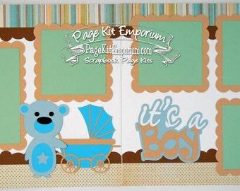 Scrapbook Page Kit Baby It's A Boy 2 page Scrapbook Layout Kit 078