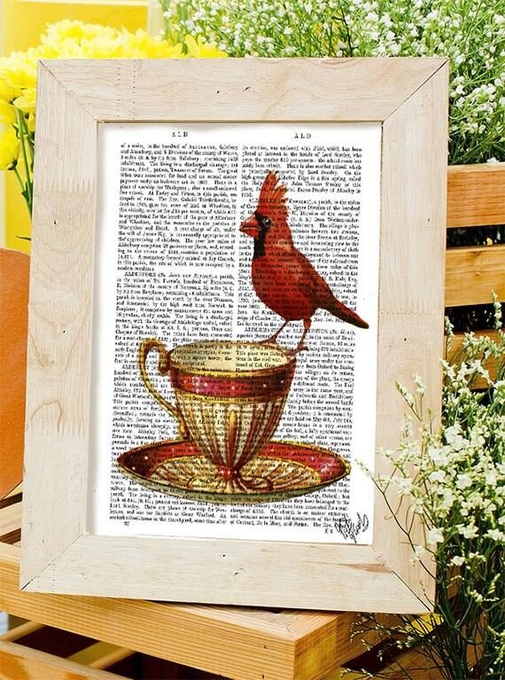 Red Cardinal Bird Teacup Tea Cup Print Kitchen Print