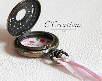 Ring pillow,  pocket watch for wedding,pink cotton