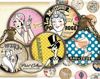 Art Deco Women Cabochon images, Digital Download, Collage Images, 1.5 inch, 16 mm 12 mm 1 inch Bottle Cap, printable download c234