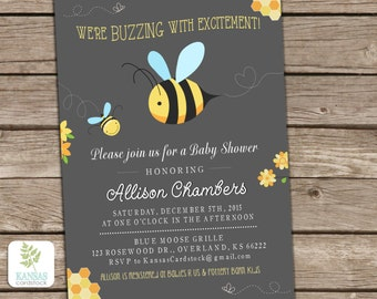 Bee Baby Shower Invitation, Mom to Bee, Baby Shower invite, Bumble Bee Honey Bee, Buzzing Excitement, Chalkboard Baby Shower, Neutral Shower