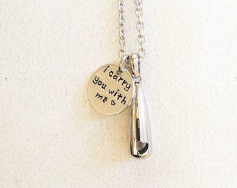 Urn necklace - Hand stamped necklace - Loss necklace - Cremation jewelry - Memorial necklace - Stainless steel urn - Cremation necklace
