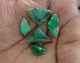Chrysoprase lot of 5 Piece, 29ct Wholesale Lot, Natural Gemstone Cabochons AG-605
