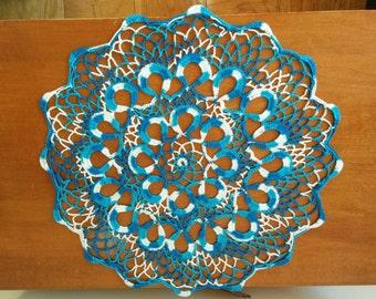 Blue marble crochet doily