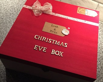Large Personalised Santa Claus is Coming to Town Christmas Eve Wooden Gift Box