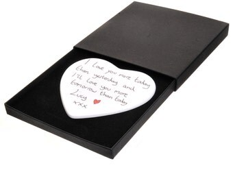 Your Handwritten Personal Message Boxed Ceramic Heart - Personalised Valentine's Day or Wedding Gift