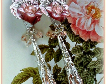Hand Painted Earrings, Handmade Earrings, Pink Earrings, Long Flower Dangles, Dusty Rose Dangles, Lucite Flower Jewelry, Silver Filigree