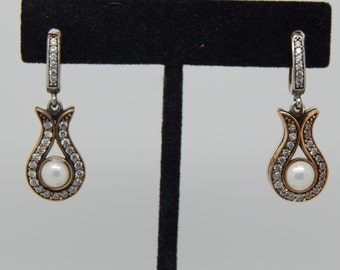 Antique Pearl Earrings,  Sterling Silver Earrings , Dangling Earrings ,Vintage Style Pearl Drop Earrings, Bridesmaids,
