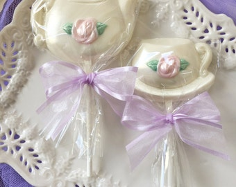 Custom Ivory Tea Party Favors Teacup and Teapot Chocolate Lollipops for Bridal Shower, Tea Party, Mother's Day Gift, Kid's Birthday Party