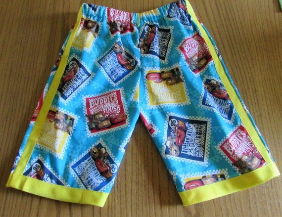 Disney Cars shorts / cotton / red or yellow edge / elastic waste / back pocket