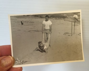PICTURE of Woman and Man on BEACH,vintage photo of gentleman and lady on beach, black & white photo of couple on beach,beach photograph