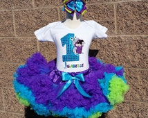 Monsters Inc Boo Sequin Birthday Pettiskirt -Personalized Birthday Tutu,Sizes 6m - 14/16