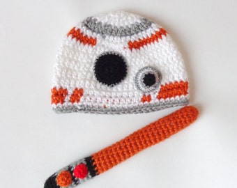 BB-8 Droid Hat With Light Saber From Star Wars BB 8 Costume Premie, Newborn, Child, Teen, Adult - Halloween / Cosplay Wig / Baby Shower Gift