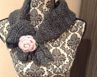 Scarf With Pink Rose Applique