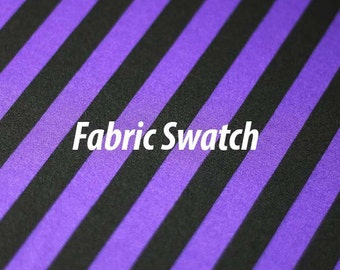 Stripe Print, Purple and Black Striped Four way Stretch Spandex Fabric Item# RXPN-1/2-STRIP-SWATCH -Fabric Swatch