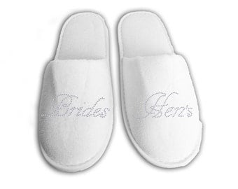 Brides Hens Personalised wedding Slippers, Bridal party gifts, Spa Slippers, Personalized bridal slippers, Bridesmaid Gifts, hen slippers