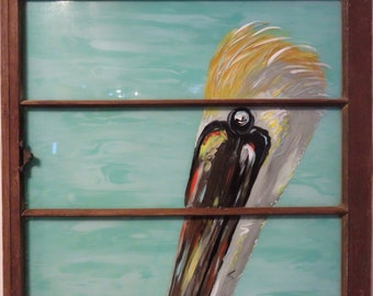 Hand Painted Window, Pelican Painting, Bird Painting, Painted Window, Repurposed Window,Beach House Decor, Home Decor, Wall Decor