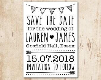 "Custom Save the Date Card - Wedding Printable, Wedding Stationery, Wedding Invitations - Diy Bride, Home Printing, 5x7"" (std4)"
