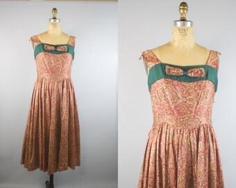 1940s Paisley Park Dress / 1940s Dress / 40s Dress