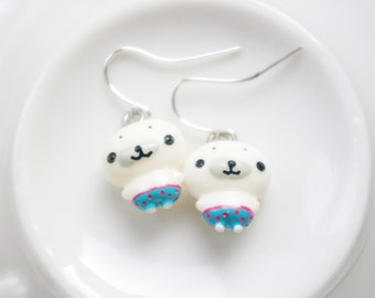 SUPER KAWAII COLLECTION: White baby seal earrings,animal earrings,small cute Christmas gift.birthday gift,for seal lovers,ocean holiday