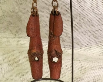 Knotty Tree Bark Drop Earrings Mulberry Dangles Boho Natural Beeswax Sealed Protection Amulet