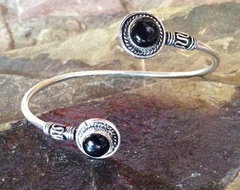 Silver Plated Bracelet,Adjustable Bracelet,Tribal Bracelet,Gemstone,Onyx Stone,Boho Bracelet,Gypsy Bracelet,Bohemian Bracelet,Gifts for Her