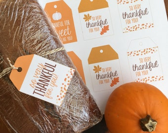 Thanksgiving Tags - Treat Bag Tags - Thankful Tags - Digital File
