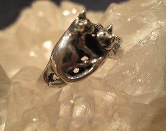 Kitty Cats Ring ~Sterling Silver~ Hand Cast Original Design