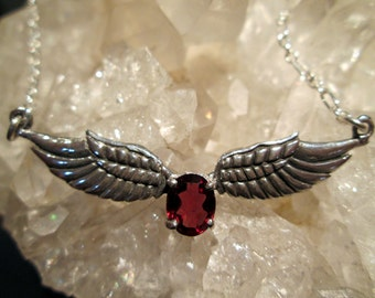 Winged Necklace W/Garnet ~Sterling Silver~ Hand Cast