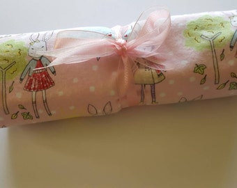 Baby girl swaddling blanket. Flannel fabric with georgous stick rabbits pattern. New baby gift.