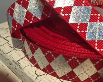 Metallic silver and red Christmas argyle grosgrain ribbon