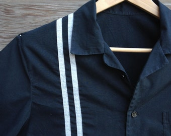 Mens retro style racing stripes shirt / pinup hot rod shirt / rockabilly pinstripe shirt / Made to order sizes S-XXL / Handmade in Holland